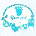 Card for newborn boy in scrabbook style or baby shower invitation Stock Images