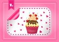 Card with one modern label with cupcake isolated and hearts on pink background Stock Photos