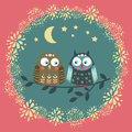 Card with owls, funny vector illustration.