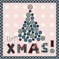 Card in patchwork style merry christmas Stock Images