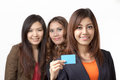 Card personnel women holding a Royalty Free Stock Image