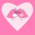 Card with pink heart and birds Stock Photo