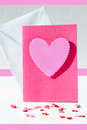 Card with pink hearts heart on a an envelops and space for text Royalty Free Stock Photo
