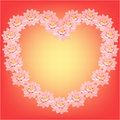 Card with pink lotus flowers in the shape of a heart. vector Royalty Free Stock Photo