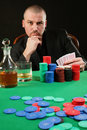 Card player winning Stock Image