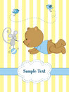 Card with playing teddy bear and mou Stock Photography