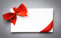 Card with red bow Stock Photography