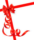 Card with red gift bow with ribbons Royalty Free Stock Photo