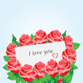 Card with red roses and heart