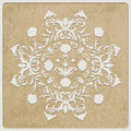 Card with retro flower white paper cut on rough paper texture Stock Images