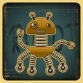 Card in retro style with the robot