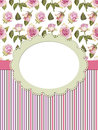 Card with roses and frame on striped background Royalty Free Stock Images