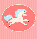 Card with a running white horse blue mane and tail on striped background Royalty Free Stock Image