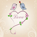 Card san valentin birds in love Royalty Free Stock Image