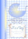 Card in scrapbooking style for greetings with newborn boy Royalty Free Stock Photo