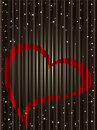 Card on shiny brown background with red heart Royalty Free Stock Photography
