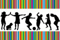 Card with silhouettes of children playing