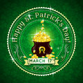 Card for st patricks day with text and pot with g golden coins vector Stock Photo