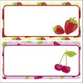 Card strawberries and cherries Royalty Free Stock Photo