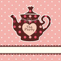 Card with teapot pink cute background Royalty Free Stock Photo