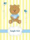 Card with teddy bear and bunny