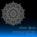 Card template with floral mandala decor in blue, black & white. Royalty Free Stock Photo