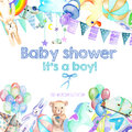 Card template, frame border with baby boy shower watercolor elements toys, cars, rainbow, nipple, festive flags and other
