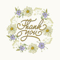 Card template with hand drawn flower border and hand written Thank You text. Vector illustration Royalty Free Stock Photo