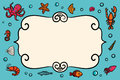 Card template. Marine theme. Blue card with lobster, shrimps snails, sea cabbage and anchor. Hand-drawn illustration on