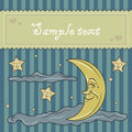 Card template with moon and stars clouds Royalty Free Stock Images