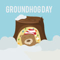 Card to groundhog day beginning spring vector greeting Stock Photos