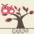 Card with two cute owls on the tree branch Stock Photography
