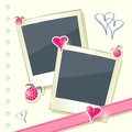 Card with Two Cute Photo Frames Royalty Free Stock Images