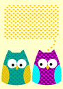 Card two patterned owls hearts message balloon speech Stock Photos
