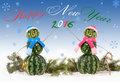 Card with two watermelon snowman with inscription happy new years and on blue background falling snowflakes holiday concept for Royalty Free Stock Photos