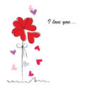 Card on valentine s day cute with hearts Stock Images