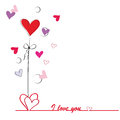 Card on valentine s day cute with hearts Stock Photo