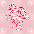 Card for valentine s day happy hand lettering text Royalty Free Stock Images