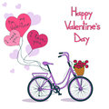 Card for valentines day with bicycle and balloons Royalty Free Stock Photo