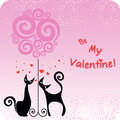 Card for the Valentines day with couple cats and tree