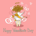 Card for valentines day with cupid funny cartoon Royalty Free Stock Photography