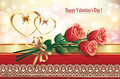 Card for valentines day with hearts and a bouquet of flowers on brilliant bright background Royalty Free Stock Photos