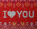 Card of valentines day with knitted texture jumper fragment i love you qualitative vector eps illustration for wedding romantic Stock Image