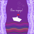 Card with waves ship and text happy journey in french bon voyage eps Royalty Free Stock Photography