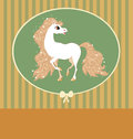 Card with white horse in pastel colors in a frame Stock Photo