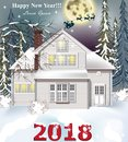 2018 card White house. Winter snowy background Vector realistic illustrations Royalty Free Stock Photo