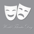 Card for World Theatre Day, March 27. Vector illustration with masks for your design, card, banner, poster and calendar. Royalty Free Stock Photo