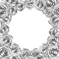 Card with wreath frame of drawn silver roses beautiful for your event invitation or holiday congratulations round hand drawned on Royalty Free Stock Photo