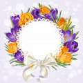 Card with wreath of yellow and purple crocuses openwork just print sign Stock Photography