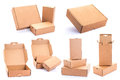 Cardboard box collection of various isolated on a white background Stock Photo